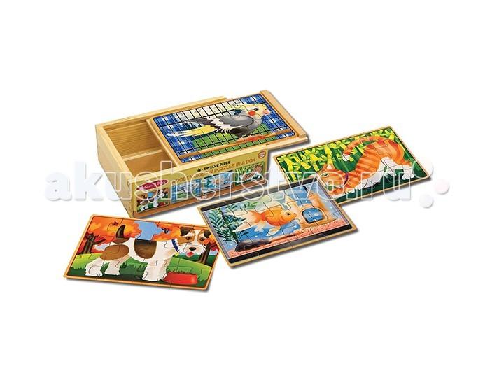 Пазлы Melissa & Doug Деревянные пазлы Домашние животные в коробке пазлы русский стиль макси пазлы африканские животные