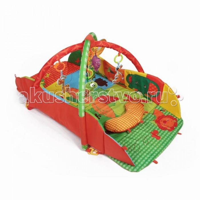 Развивающий коврик Yako АвстралияАвстралияYako Развивающий коврик Австралия предназначен для девочек и мальчиков в возрасте от 0 месяцев.  Напольный многофункциональный игровой комплекс с яркими изображениями, разноцветными подвесками и безопасным зеркалом способствует развитию мелкой моторики, зрения и тактильного восприятия ребенка. В комплект входят 5 игрушек-пищалок в форме животных австралийского континента: жираф, кенгуру, бегемот, крокодил, черепаха. Также есть мягкое зеркало и подушка для комфорта вашего малыша. Мягкие борта коврика собираются и коврик превращается в манеж, в комплект входят 8 специальных креплений для поддержки бортиков, Также коврик разбирается и с опущенными бортами значительно увеличивается в размере, дуги также можно отсоединить, по вашему желанию. Коврик сделан с качественным внутренним наполнителем, так что ваш ребенок сможет играть в нем даже на полу без ущерба для здоровья. Бортики коврика усилены наполнителем для придания дополнительной формы, а современная мягчайшая ткань подарит вашему малышу много часов приятной и занимательной игры. Уход: перед стиркой, отсоедините игрушки и дуги от коврика. Стирать в режиме деликатной стирки, при температуре не более 30 градусов, не отбеливать. Сушить естественным образом. Размер коврика (ШхД): 75 х 55 см Размер коврика с разложенными бортами (ШхД): 120 х 100 см Предназначено для детей от 0 месяцев.<br>
