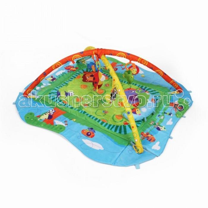 Развивающий коврик Yako Лесные игрыЛесные игрыYako Развивающий коврик Лесные игры предназначен для девочек и мальчиков в возрасте от 0 месяцев.  Напольный многофункциональный игровой комплекс с яркими изображениями, разноцветными подвесками и безопасным зеркалом способствует развитию мелкой моторики, зрения и тактильного восприятия ребенка.  В комплект входят 4 мягкие игрушки-пищалки в форме животных: бегемот, зебра, собака и  птичка Также есть мягкое зеркало и подушка для комфорта вашего малыша. Мягкие борта коврика собираются и коврик превращается в манеж, в комплект входят 8 специальных креплений для поддержки бортиков, Также коврик разбирается и с опущенными бортами значительно увеличивается в размере, дуги также можно отсоединить, по вашему желанию Коврик сделан с качественным внутренним наполнителем, так что ваш ребенок сможет играть в нем даже на полу без ущерба для здоровья Бортики коврика усилены наполнителем для придания дополнительной формы, а современная мягчайшая ткань подарит вашему малышу много часов приятной и занимательной игры Уход: перед стиркой, отсоедините игрушки и дуги от коврика. Стирать в режиме деликатной стирки, при температуре не более 30 градусов, не отбеливать. Сушить естественным образом. Размер коврика (ШхД): 75 х 55 см Размер коврика с разложенными бортами (ШхД): 120 х 100 см<br>