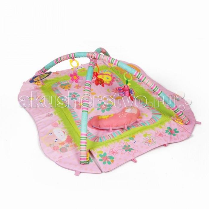 Развивающий коврик Yako ЛетоЛетоYako Развивающий коврик Лето предназначен для девочек и мальчиков в возрасте от 0 месяцев.  Напольный многофункциональный игровой комплекс с яркими изображениями, разноцветными подвесками и безопасным зеркалом способствует развитию мелкой моторики, зрения и тактильного восприятия ребенка.  В комплект входят мягкие игрушки: 1 пищалка-лошадка и 2 шуршалки- бабочка и цветочек. Также есть мягкое зеркало и подушка для комфорта вашего малыша. Мягкие борта коврика собираются и коврик превращается в манеж, в комплект входят 8 специальных креплений для поддержки бортиков, Также коврик разбирается и с опущенными бортами значительно увеличивается в размере, дуги также можно отсоединить, по вашему желанию Коврик сделан с качественным внутренним наполнителем, так что ваш ребенок сможет играть в нем даже на полу без ущерба для здоровья Бортики коврика усилены наполнителем для придания дополнительной формы, а современная мягчайшая ткань подарит вашему малышу много часов приятной и занимательной игры Уход: перед стиркой, отсоедините игрушки и дуги от коврика. Стирать в режиме деликатной стирки, при температуре не более 30 градусов, не отбеливать. Сушить естественным образом. Размер коврика (ШхД): 75 х 55 см Размер коврика с разложенными бортами (ШхД): 120 х 100 см<br>