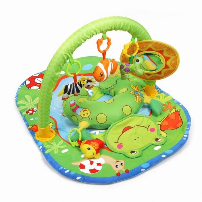 Развивающий коврик Yako ЛягушонокЛягушонокYako Развивающий коврик Лягушонок предназначен для девочек и мальчиков в возрасте от 0 месяцев.  Напольный многофункциональный игровой комплекс с яркими изображениями, разноцветными подвесками и безопасным зеркалом способствует развитию мелкой моторики, зрения и тактильного восприятия ребенка.  4 мягкие игрушки-пищалки: 2 рыбки, черепашка и зебра для развития моторики и слуха Большое безопасное зеркальце в форме солнышка позволит ребенку изучить мир вокруг него, а также свое отражение. Использованы разнообразные тактильные материалы Разноцветный красочный дизайн в стиле водоема и потрясающий материал (велюр нового поколения) Все игрушки, подвешенные на дугах, можно снять с колец и использовать отдельно от коврика Компановка элементов коврика вдохновляет ребенка к движению и игре; Удобная мягкая подушечка может служить ограничителем для головки, поддержкой под грудью малыша в положении лежа на животике. Коврик можно использовать как с дугой так и без нее, Можно стирать в режиме деликатной стирки, при температуре не более 30 градусов, не отбеливать. Сушить естественным образом. Размер коврика (ДхШхВ): 82 х 62 х 43 см<br>