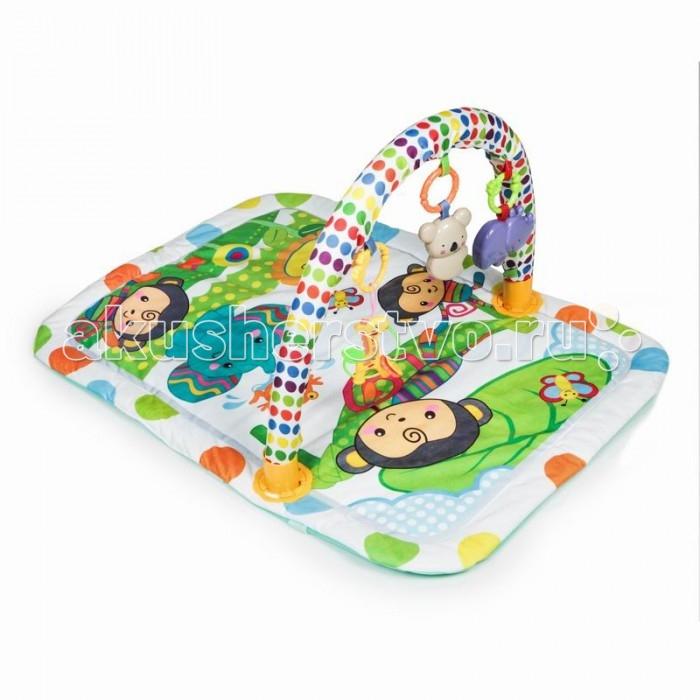 Развивающий коврик Yako ОбезьянкиОбезьянкиYako Развивающий коврик Оазис  предназначен для девочек и мальчиков в возрасте от 0 месяцев.  Коврик сможет привлечь внимание любого ребенка благодаря своему яркому и красивому оформлению. Он украшен забавными изображениями обезьянок.  В комплекте: Дуга Игрушки<br>