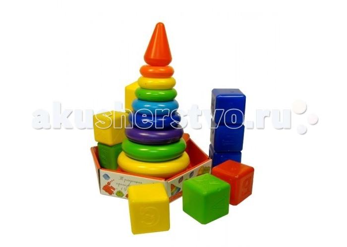 Развивающие игрушки Росигрушка Набор Радуга Макси пирамида+кубики (23 детали) развивающие игрушки стеллар пирамида занимательная большая