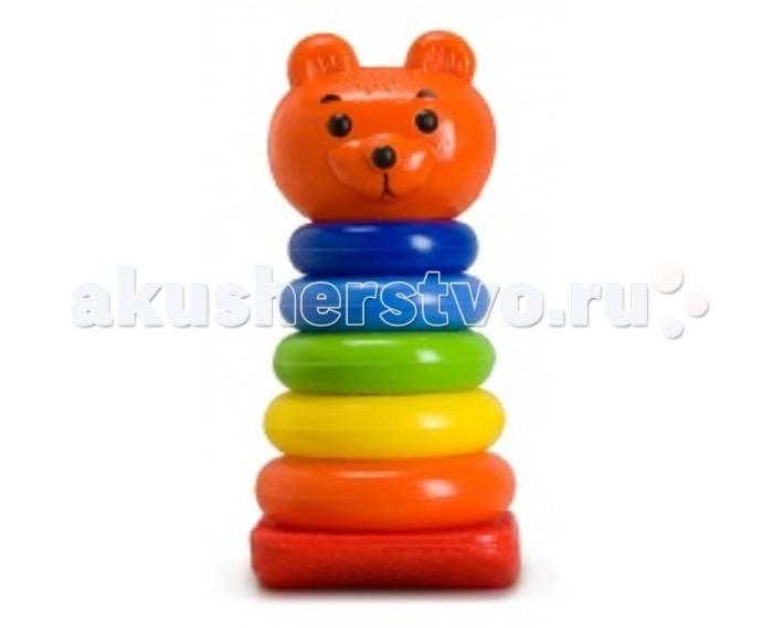 росигрушка пирамидка медвежонок Развивающие игрушки Росигрушка Пирамида Медвежонок с кольцами 22 см (7 деталей)