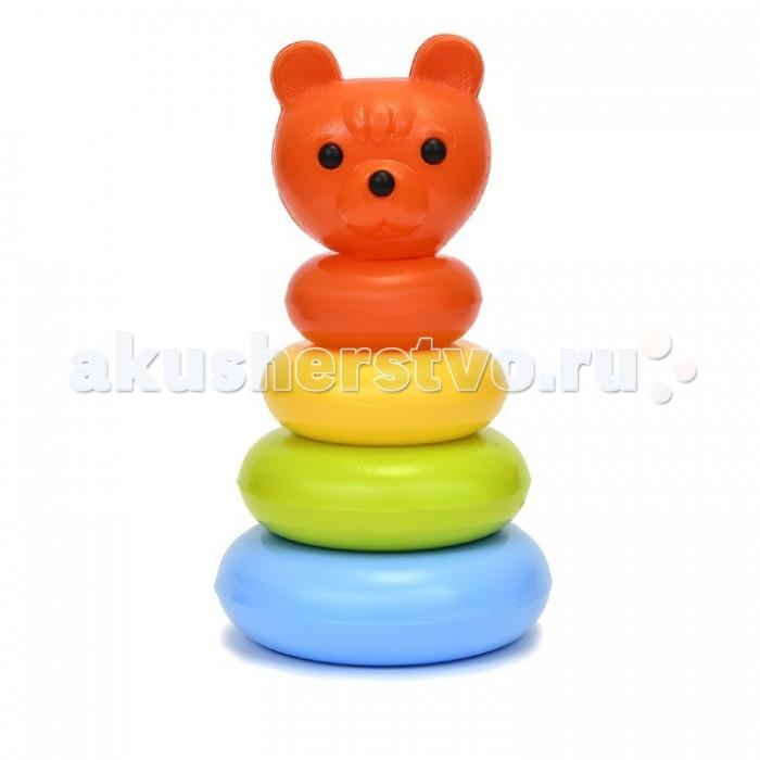 росигрушка пирамидка медвежонок Развивающие игрушки Росигрушка Пирамида Медвежонок с кольцами 26 см (6 деталей)