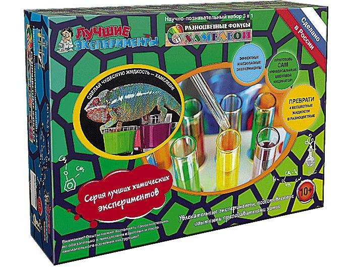 Наборы для творчества Qiddycome Набор для опытов и экспериментов Хамелеон Разноцветные фокусы 4м набор первые фокусы