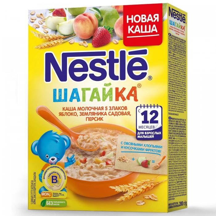 Каши Nestle Каша Молочная Шагайка 5 Злаков Яблоко Земляника Персик 200 г пудовъ кексики шоколадные 250 г