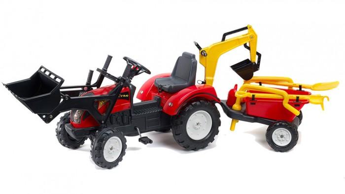 Детский транспорт , Педальные машины Falk Трактор-экскаватор педальный с прицепом 220 см арт: 390289 -  Педальные машины