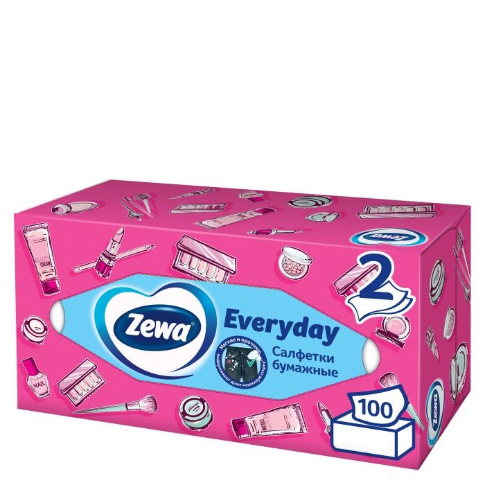 Салфетки Zewa Салфетки Бумажные Косметические Everyday, 2 слоя, 100 шт. салфетки бумажные world cart товары для дома белый