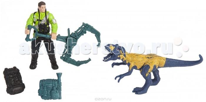 Игровые наборы Chap Mei Игровой набор Динозавр Мегалозавр и ловец динозавров игровые наборы tomy набор поезд динозавров тайни с вагончиком