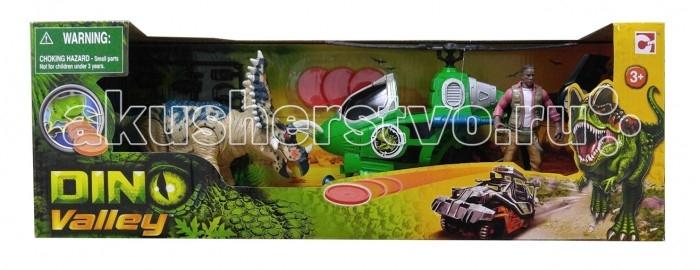 Игровые наборы Chap Mei Игровой набор Динозавр Трицератопс и охотник на вертолете (стрельба) игровые наборы chap mei игровой набор динозавр эораптор и кинооператор
