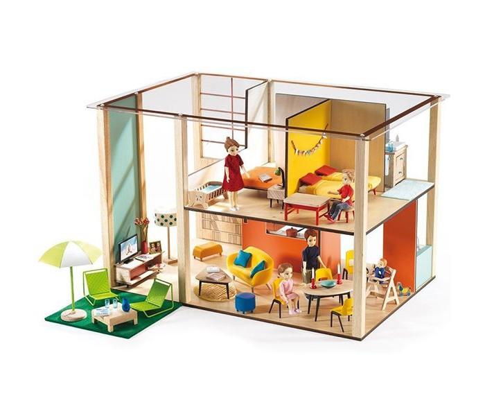 Djeco Дом-кубик для куколДом-кубик для куколDjeco Дом-кубик для кукол от французского производителя развивающих игрушек Djeco станет прекрасной основой для увлекательных игр с фигурками вашего ребенка.  Набор представляет собой конструктор из нескольких деталей. С помощью деталей ребенок должен собрать двухэтажный кукольный дом. Домик с прозрачной крышей содержит несколько комнаток, в которых ребенок будет самостоятельно придумывать интерьер и создавать различные игровые ситуации.  Легкий и прочный домик станет прекрасной основой для сюжетных игр ребенка с его любимыми фигурками людей. В процессе такой игры у ребенка будет прекрасно развиваться фантазия и воображение, усидчивость и внимание к деталям.  Внимание! В набор входят только детали для сборки домика. Фигурки приобретаются отдельно. Набор продается в яркой подарочной коробке. Размер домика в собранном виде: 31 x 32.5 x 48.5 см.<br>