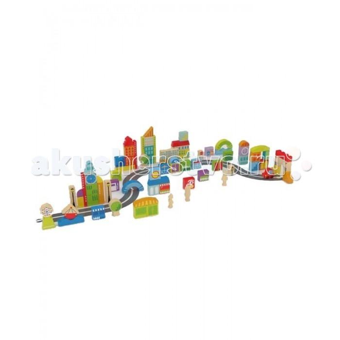 Деревянная игрушка Hape Конструктор Е8304 (88 деталей)Конструктор Е8304 (88 деталей)Деревянная игрушка Hape Конструктор Е8304 - увлекательный игровой набор, который обязательно понравится вашему ребенку.  С помощью этого конструктора малыш может возвести целый город: уютные улочки с маленькими домами,  деревьями и фонариками, бизнес квартал с небоскребами, разместить на свои места людей и автомобили. Яркие детали различных форм имеют продуманные размеры, поэтому дети без труда смогут брать их в руки, изучая и складывая любые конструкции, которые подскажет им богатая фантазия.  Конструирование способствует развитию пространственного и логического мышления. Складывая различные сооружения ребенок развивает ловкость и моторику. Ярко окрашенные элементы позволяют запомнить основные цвета и их названия. Красочные детали можно использовать для развивающих занятий с малышом.  Конструктор создан из экологически чистой древесины, окрашен яркими нетоксичными красками. Используемые при изготовлении игрушки материалы не представляют угрозы для детского здоровья.<br>