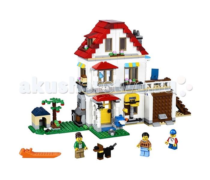 Конструктор Lego Creator 31069 Лего Криэйтор Загородный домCreator 31069 Лего Криэйтор Загородный домКонструктор Lego Creator 31069 Лего Криэйтор Загородный дом предлагает ребенку собрать загородный дом, где развернутся разнообразные сюжеты. В набор входят 728 пластиковых деталей, из которых ребенок сможет собрать три различных варианта зданий. Но это не помешает ему включить свое воображение и соорудить из конструктора Lego Creator уникальное строение.  Особенности: Первым строением, предлагаемым инструкцией, является двухэтажный домик с лужайкой Слева от него находится собачья конура и фруктовое дерево У двери установлены почтовый ящик и баскетбольное кольцо Чуть дальше находится открывающаяся дверь гаража, в котором находится автомобиль Машина оснащена вращающимися колесами и светящимися фарами. Пространство дома поделено на кухню, гостиную и спальню Окна и двери дома открываются, в почтовый ящик можно будет поместить утреннюю газету, что сделает игровой процесс более приближенным к реальности Второй вариант для постройки представляет собой одноэтажный домик с бассейном Вокруг него ребенок сможет выстроить зону на открытом воздухе для приготовления еды, что дополнит атмосферу летнего отдыха Третьим сооружением является трехэтажный гольф-клуб с размещаемым рядом с ним полем с лункой Чтобы в зданиях закипела жизнь в набор входят 3 минифигурки. Количество деталей: 728 шт.<br>