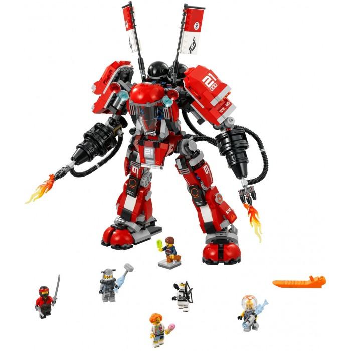 Конструктор Lego Ninjago 70615 Лего Ниндзяго Огненный робот КаяNinjago 70615 Лего Ниндзяго Огненный робот КаяКонструктор Lego Ninjago 70615 Лего Ниндзяго Огненный робот Кая станет отличным преобретением для мальчиков, которым полюбился Кай из популярного мультфильма.  Особенности: Конструктор предлагает собрать яркого красного робота из 944 деталей, а также включает 6 минифигурок: самого Кая, Зейна, Генри и Лориен и 2 злодеев - Рыбу-Молота и Медузу Собравшись вместе, герои смогут побороть врагов, и робот Кая сыграет в этом решающую роль. С таким набором мальчик сможет придумать совершенно новый сюжет, который вполне бы мог стать продолжением знаменитого мультика Высокотехнологичная машина подвижна и оснащена двумя пушками, которые стреляют струями огня, благодаря чему игра станет еще более увлекательной и захватывающей. Количество деталей: 944 шт. Высота робота в собранном виде: 36 см.<br>