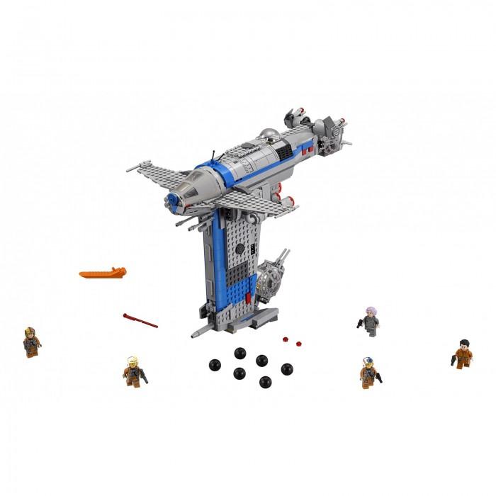 Конструктор Lego Star Wars 75188 Лего Звездные Войны Бомбардировщик СопротивленияStar Wars 75188 Лего Звездные Войны Бомбардировщик СопротивленияКонструктор Lego Star Wars 75188 Лего Звездные Войны Бомбардировщик Сопротивления из 780 деталей, входящих в комплект, ребенок сможет собрать большое космическое транспортное средство, которое будет фигурировать в новом восьмом эпизоде фантастической саги о межгалактической войне Добра и Зла. Выход фильма ожидается только в конце 2017 года, а эту оригинальную игрушку можно приобрести уже сейчас.  Особенности: Бомбардировщик обладает необычной формой Бомбардировщик оснащен вытянутым трюмом, укомплектованным круглыми снарядами, для сброса которых имеется специальный механизм По обеим сторонам сооружения расположены пушки, стреляющие длинными красными ракетами В верхней части игрушки, которая напоминает самолет, имеется место для наводчика Часть обшивки модели можно снять, под ней расположен отсек для пассажиров. В игровой комплект также входят фигурки 5 персонажей: адмирала Эмилин Холдо, пилота По Дамерона и трех повстанцев Конструктор выполнен из высококачественного пластика, безопасного дня здоровья детей.<br>