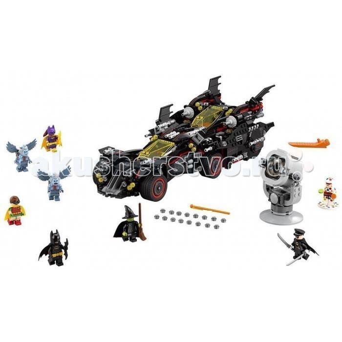 Конструктор Lego Batman Movie 70917 Крутой БэтмобильBatman Movie 70917 Крутой БэтмобильКонструктор Lego Batman Movie 70917 Крутой Бэтмобиль погрузит игрока в суровую обстановку злачного Готэм-Сити.   Когда на город спускается ночь, зло вылезает из своих укрытий… Полицейские не в силах противостоять натиску бандитов, а мирные жители с надеждой смотрят наверх. Комиссару Гордону нужна помощь. И тогда он зажигает прожектор на крыше полицейского управления. В небе Готэм-Сити загорается знак Бэтмена. Это значит, что супергерою пора садиться за руль бэтмобиля и отправляться на подвиги.  Особенности: Стильный автомобиль легко трансформируется и разделяется на четыре различных транспортных средства: скоростной бэтмобиль, броневой бэттанк, супербыстрый бэтмолет и бэтцикл повышенной проходимости Предстоит сражение с летающими обезьянами, которыми повелевает злая колдунья Запада. Но нет такого препятствия, которое Бэтмен не сможет преодолет Четырехзарядные шипометы и крутые шестизарядные пушки, из которых можно стрелять, помогут быстро разделаться с врагами. К отважному герою присоединятся Робин, Бэтгерл и Альфред (в бэткостюме) В комплекте конструктора, кроме большого количества интересных деталей и инструкции, встретятся восемь мини фигурок персонажей, снаряды для орудий и фигурка знаменитого прожектора, который можно зажечь.  Размеры: Размер бэтмобиля: 12 х 37 х 16 см Размер бэттанка: 7 х 16 х 14 см Размер бэтмолета: 8 х 20 х 19 см Размер малого бэтмобиля: 9 х 23 х 12 см Размер бэтцикла: 4 х 11 х 3 см Размер бэтсигнала: 10 x 6 x 6 см. Количество деталей: 1456<br>