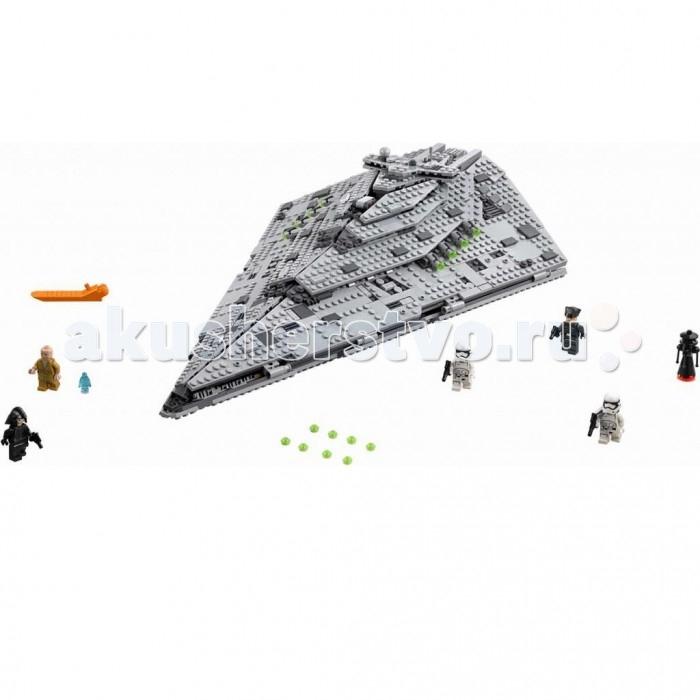 Конструктор Lego Star Wars 75190 Лего Звездные Войны Звездный разрушитель Первого ОрденаStar Wars 75190 Лего Звездные Войны Звездный разрушитель Первого ОрденаКонструктор Lego Star Wars 75190 Лего Звездные Войны Звездный разрушитель Первого Ордена надолго увлечет мальчика, развивая пространственно-логическое мышление, воображение и фантазию.   Особенности: Из деталей конструктора ребенок сможет собрать межзвездный военных космический корабль, который выглядит как его прототип из популярной фантастической саги Салон собранного летательного аппарата имеет несколько отсеков для пилотов корабля, оборудования и оружия У фигурок воинов двигаются ручки и ножки Игрушечных человечков можно помещать внутрь звездолета Собранный звездный разрушитель имеет подвижные элементы. Количество деталей: 1416 шт.<br>