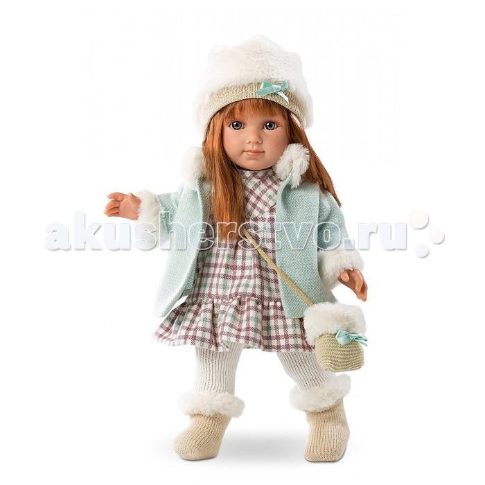 Llorens Кукла Елена 35 см L 53518Кукла Елена 35 см L 53518Кукла Llorens Елена 35 см L 53518 - реалистичная куколка с ямочками и складочками на ручках и ножках.  Эта малышка по имени Елена очарует свою хозяйку голубыми глазками с длинными ресничками, веснушками и правдоподобными длинными волосами рыжего цвета.  Кукла одета в клетчатое платьице и кофточку с меховой отделкой, а также в тёплые мягкие носочки и колготочки.    Особенности:  Личико подробно и детально проработано, черты лица тонкие и аккуратные.  Кукла имеет мягконабивное тело, а голова ручки и ножки изготовлены из приятного на ощупь винила с запахом ванили.  Подвижные части тела позволяют легко переодевать куколку и придавать ей различные игровые позы.  При нажатии на животик малыш начинает плакать и звать маму и папу.   Волосы отличаются густотой, шелковистостью и блеском, при расчесывании они не выпадают и не ломаются.  Волосы прошиты по всей голове. Высота: 35 см<br>