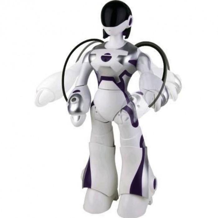 Интерактивная игрушка Wowwee Робот FemisapienРобот FemisapienИнтерактивная игрушка Wowwee Робот-собака Рекс всегда интересна и непредсказуема. Очаровательная и кокетливая девушка-робот наделена всеми основными женскими качествами. Для того чтобы ее владельцам не было скучно и однообразно, разработчики предусмотрели множество режимов ее работы. Если, к примеру, установить особый режим реагирования, то от робота можно получить всяческие эмоции. Импульсивная девушка будет злиться, показывать различные сценки, привлекать к себе внимание любыми способами.  Через пять минут после команды, робот переходит в режим ожидания. В этом случае он просто изредка вздыхает и меняет положение своего тела. Вывести ее из такого состояния можно либо прикосновением, либо движением ладони перед лицом. После активации режима внимания, робот поднимет голову на своего повелителя и будет ожидать призыва к действию. По завершении игры можно уложить робота спать. Для этого нужно просто придать ему горизонтальное положение. Уже через 10 минут он уснет и вскоре самостоятельно выключится.  Девушка-робот отлично поддается обучению. Она превосходно все схватывает с первого раза. Стоит лишь показать ей несколько движений руками, как она безошибочно повторит их. Самыми чувствительными частями робота являются руки. Нужно экспериментировать и двигать ими, чтобы узнать, на что способна игрушка;  Во время ходьбы робот видит препятствия, расположенные на уровне своей шеи, и обходит их. Изменить маршрут можно с помощью рук, указав необходимое направление. Можно предложить роботу прогуляться. Для этого необходимо лишь взять его за руку и провести немного вперед.  Девушка-робот может взять небольшой тонкий предмет в руку и удерживать его. Благодаря режиму изучения робот может исследовать окружающее пространство и комментировать увиденное.  Характеристики: высота составляет 38 см; вес – 700 г.  Особенности: имеет 59 особых функций, которые станут известны пользователю только во время игры; может управляться с 