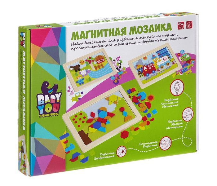 Мозаика Bondibon Игра деревянная магнитная мозаика Ферма Bох, Мозаика - артикул:395174