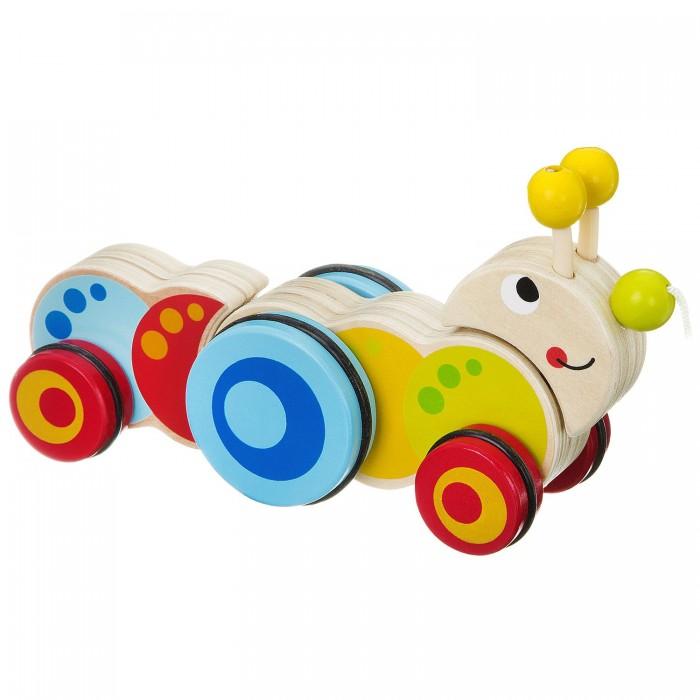 Каталки-игрушки Bondibon Игрушка деревянная каталка с веревочкой Гусеница Bох игрушка каталка жираф деревянная