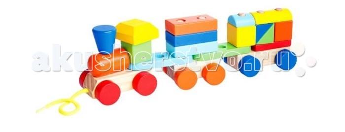 Деревянные игрушки Mapacha Конструктор Паровозик 19 деталей