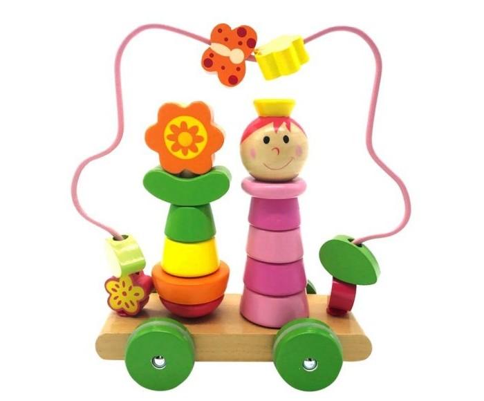 Деревянные игрушки Mapacha Лабиринт-пирамидка Девочка на колесиках