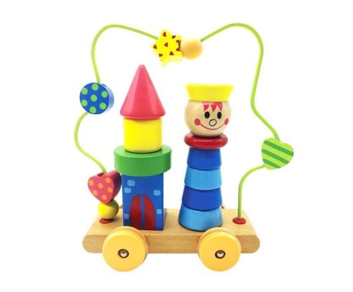 Деревянные игрушки Mapacha Лабиринт-пирамидка Мальчик на колесиках