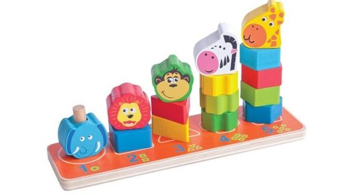Деревянные игрушки Mapacha Пирамидка Сафари