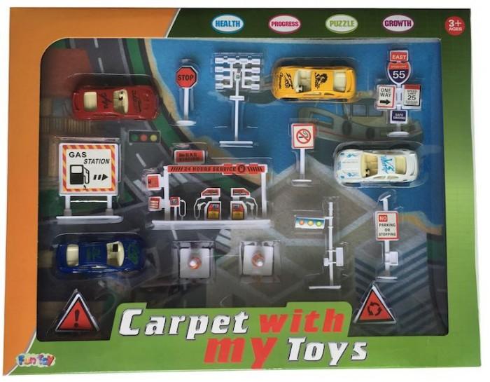 Машины Fun Toy Набор дорожный с игровым ковриком дорожный набор в косметичке topicrem um face