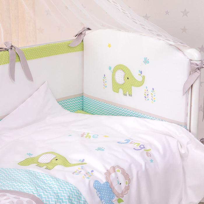 Купить Комплекты в кроватку, Комплект в кроватку Perina Джунгли из сатина (4 предмета)