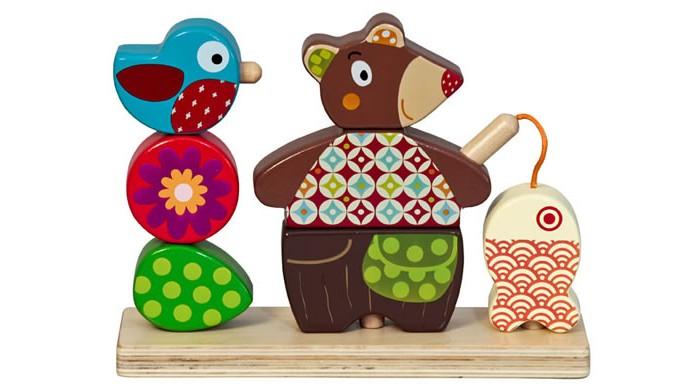 Деревянные игрушки Ebulobo Мишка на рыбалке деревянные игрушки ebulobo кубики мишка