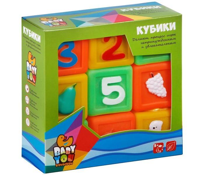 Картинка для Игрушки для ванны Bondibon Игровой набор для купания кубики Цифры, Фрукты, Животные, 9 шт.
