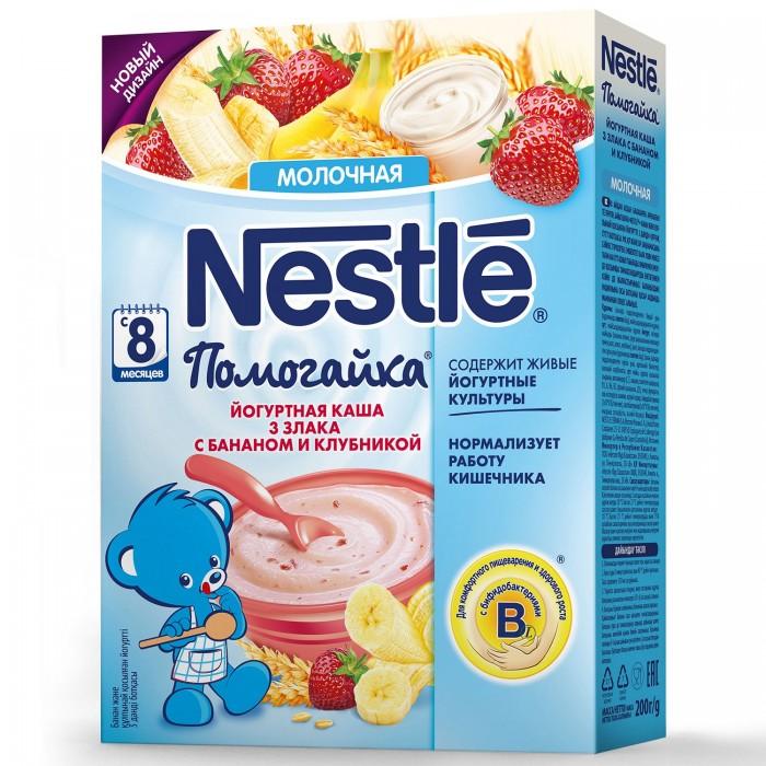Каши Nestle Каша Помогайка йогуртная 3 злака с бананом и клубникой с 8 мес. 200 г вкуснотеево йогурт с клубникой 3 5% 140 г