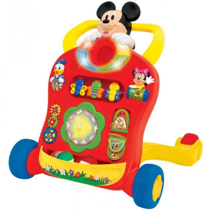 Ходунки Kiddieland Микки МаусМикки МаусКаталка-ходунок Kiddieland Микки Маус привлечет внимание детей красочными игровыми элементами на корпусе и забавной мордашкой любимого героя мультфильма – Микки Мауса.   Родителям понравится, что изделие еще можно использовать и как ходунки, обучая кроху первым навыкам ходьбы.    Особенности:  Ходунки оснащены 4 колесиками, благодаря которым их можно толкать перед собой, держась при этом за широкую ручку.  В верхней части корпуса яркая мордашка героя популярных диснеевских мультфильмов – Микки Мауса.  Ниже размещены световые индикаторы, которые при нажатии на кнопку начинают мерцать и привлекают внимание малышей.  Разноцветные бабочки нанизаны на основу, поэтому кроха сможет их вращать и развивать мелкую моторику рук.  Фигурки друзей Микки – Дональда и Минни дополнены подвижными барабанчиками с яркими картинками.  По центру размещён цветок со звуковыми лепестками, светящийся и переливающийся огоньками, а по бокам от него расположены красочные шестерёнки и подвижные портреты любимых героев.  В самом низу каталки закреплена корзина, в которую кроха будет кидать разноцветные мячики из комплекта и тренировать при этом свою меткость.  Игровая конструкция выполнена из пластика, который устойчив к ударам и не деформируется от них.  Яркие цвета каталки останутся такими же насыщенными долгое время, так как изделие окрашено стойкими к истиранию красителями.  Размеры изделия: 47 х 53 х 12 см. Питание: 3 батарейки АА (в комплекте).<br>