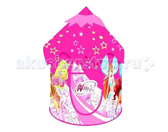 Играем вместе Игровая палатка Замок WINXИгровая палатка Замок WINXИгровая палатка Играем вместе Замок WINX несомненно, порадует вашего малыша.   Для молодых родителей маленьких принцесс незаменимой помощницей на отдыхе станет детская игровая палатка «Winx».    Особенности:    Она сделана из яркого, легко моющегося текстиля, окошечка – из сетки.   Дверца фиксируется липучкой.   В основе «Волшебного замка» лежит спиралеобразный каркас.   Детская палатка легка, удобна и компактна, в сложенном виде занимает минимум места.   Размер палатки: 101х101х132 см.<br>