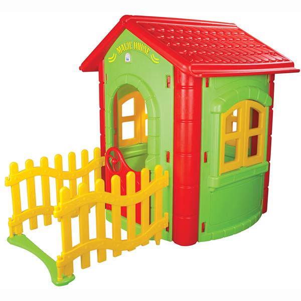 Pilsan Игровой домик Magic HouseИгровой домик Magic HouseОчень удобный, яркий и красочный, просторный разборный домик турецкого производителя высококачественных детских игрушек компании Pilsan.  Этот домик изготовлен из очень прочного пластика, весьма устойчив к перепаду температур и солнечным лучам.  Его достаточно легко мыть.  Эта игрушка рассчитана на детей дошкольного возраста от 2 лет.  Детский забавный дом с забором Легкая установка без винтов и инструментов Открывающиеся окна и двери Подходит для дворовых территорий и детских площадок  Размеры: 112 х 130 х 172 см<br>