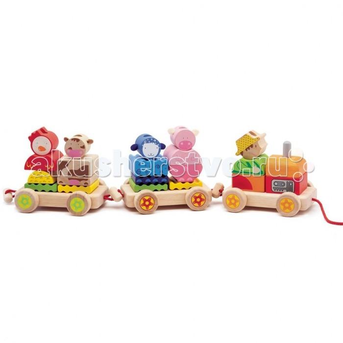 деревянные игрушки djeco развивающая мусса Деревянные игрушки Djeco Конструктор Паровозик Ферма