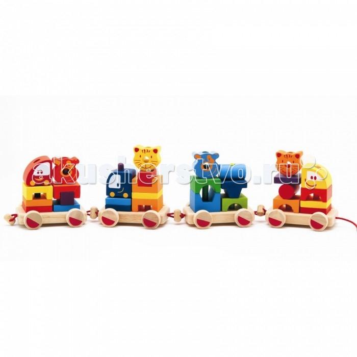 Деревянные игрушки Djeco Конструктор-каталка Маленький паровозик все цены