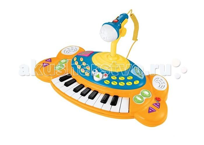 Музыкальная игрушка Играем вместе Электропианино Маша и медведь с микрофономЭлектропианино Маша и медведь с микрофономЭлектропианино Играем вместе Маша и медведь с микрофоном   Маленькое электропианино, оформленное в стиле мультфильма Маша и медведь понравится детишкам и отлично подойдет для знакомства с музыкальными инструментами. Пианино имеет функцию записи и воспроизведения, может проигрывать демо мелодии и имеет множество других возможностей. В комплекте также находится микрофон для вашей будущей звезды.   Особенности:    18 клавиш,   съемный микрофон,   звуковые эффекты,   8 ритмов,   4 варианта барабанной дроби,   6 демо мелодий,   регулировка темпа, ритма и громкости,   запись и воспроизведение,   8 видов музыкальных инструментов.   Цвета в ассортименте!<br>