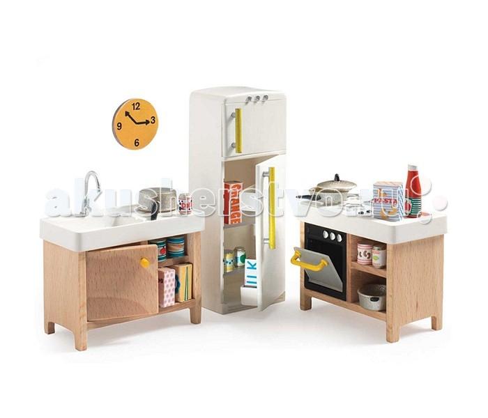 Кукольные домики и мебель Djeco Мебель для кукольного дома Кухня мебель для кукольного дома djeco мебель для кукольного дома
