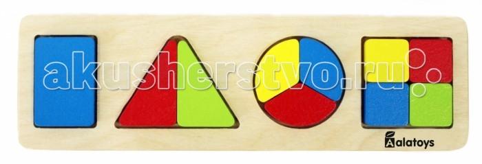 Деревянные игрушки Alatoys Рамка-вкладыш Дроби-фигуры деревянные игрушки alatoys пазлы собачки