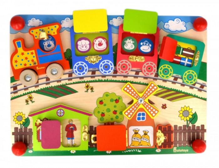 Деревянная игрушка Alatoys Бизиборд Вагончики