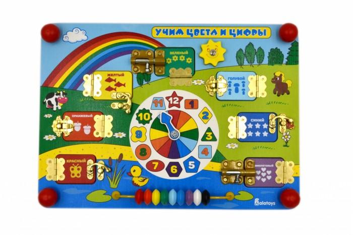 Деревянная игрушка Alatoys Бизиборд Учим цвета и цифры