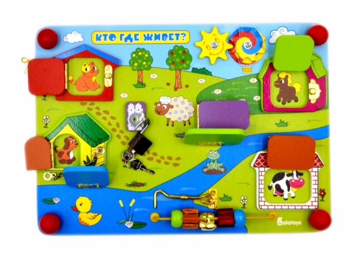Деревянные игрушки Alatoys Бизиборд Кто где живет мозаика синтез покрути колёсико кто где живет