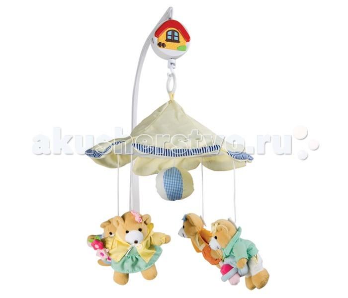 Мобиль Canpol Мишки-девочки под зонтиком 2/375Мишки-девочки под зонтиком 2/375Музыкальная игрушка карусель Мишки-девочки под зонтиком Canpol 2/375.   Музыкальная карусель крепится на кроватку.  Красочные и мягкие плюшевые игрушки привлекают внимание ребенка, развивают его зрение и координацию движений.  Приятная мелодия музыкальной шкатулки успокаивает ребенка и помогает ему заснуть.   Вы можете отсоединить любимые фигурки и дать их малышу. Стирать согласно инструкции.<br>