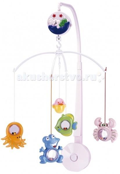 Мобиль Canpol Подводный мир 2/907Подводный мир 2/907Музыкальная игрушка карусель Подводный мир Canpol 2/907.  Музыкальная карусель крепится на кроватку.  Красочные пластиковые игрушки-погремушки привлекают внимание ребенка, развивают его зрение и координацию движений.  Приятная мелодия музыкальной шкатулки успокаивает ребенка и помогает ему заснуть.   Карусель легко содержать в чистоте. Идеально подходит малышам, страдающих аллергией.<br>