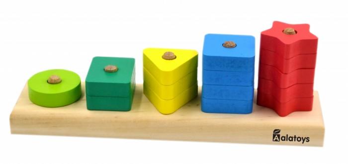 Деревянные игрушки Alatoys Пирамидка Счеты Геометрические фигуры (15 деталей)