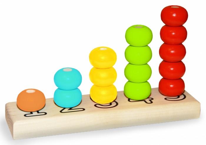 цены Деревянные игрушки Alatoys Пирамидка Счеты (15 деталей)